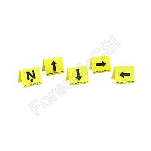 Yellow Evidence Markers with Arrows and Scale
