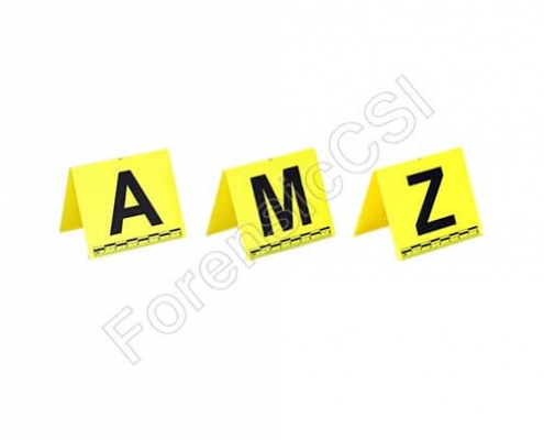 Evidence Markers with Letters Yellow