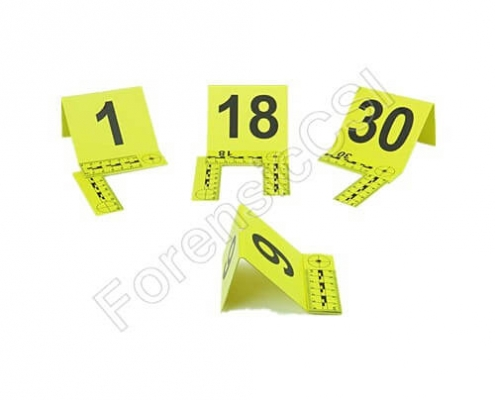 Evidence markers with foldable L-scale