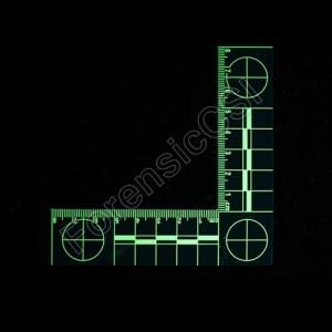Green Fluorescent L-shaped Ruler fluorescing 8x8cm
