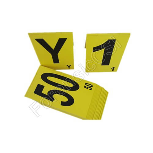 Large Hinged Evidence Markers with Letters and Numbers