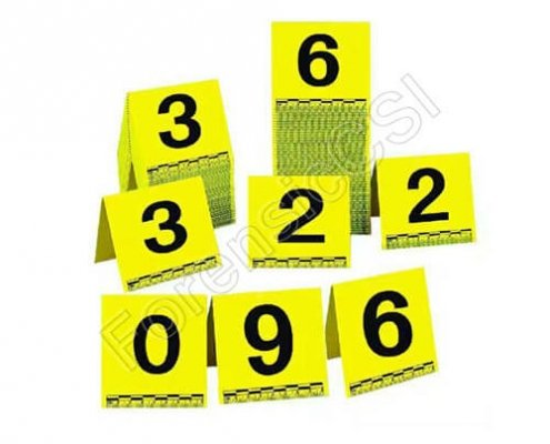 Yellow Evidence Markers with Scale and Numbers